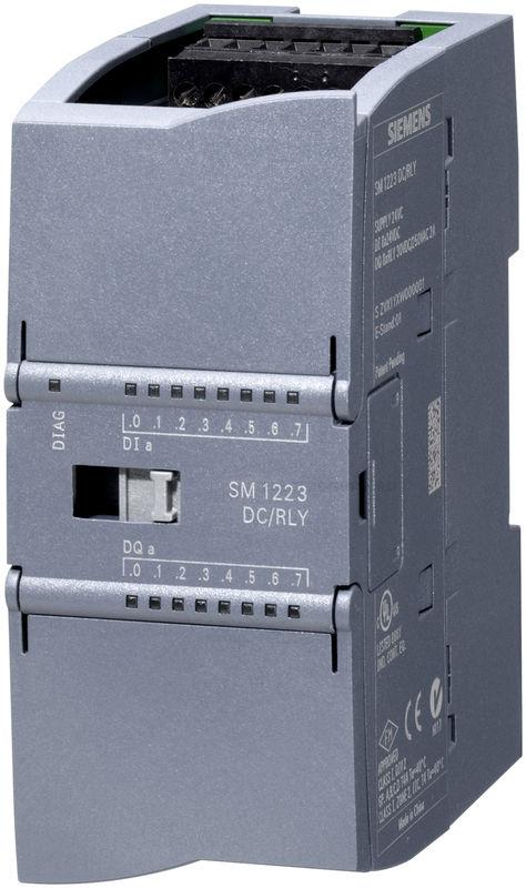 Модуль ввода и вывода дискретных сигналов SM 1223 для Simatic S7-1200, 8 дискретных релейных входов 8DI =24 В и 8 дискретных релейных выходов 8DO = реле 2А